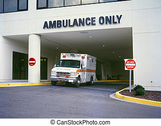 Ambulance at ER - Ambulance at Emergency Room entrance