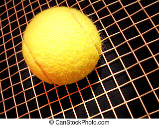 tennis ball on racket - tennis ball on raquet