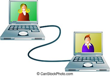 computer network - a business man and woman communicating...