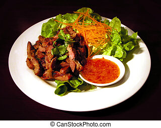Steak Salad - Steak salad with sweet chili sauce
