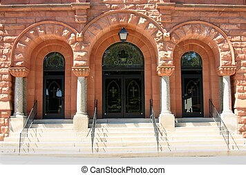 Church Entrance - The front doors to St. Joseph's church.