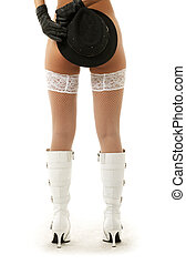 hat games #2 - naked girl in white boots and stockings with...