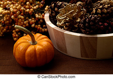 Fall Arrangement - Fall arrangement consisting of a pumpkin,...