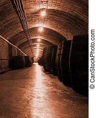 wine industry - interior of a wine factory in spain