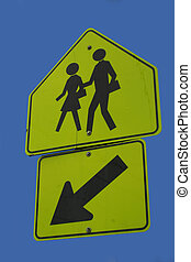 attention children crossing here sign
