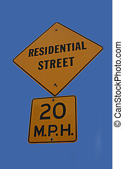 residential street speed limit sign