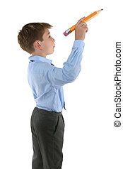 Student holding a pencil about to write