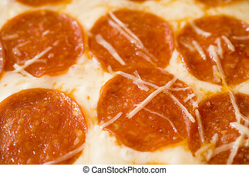 A Sheet of Hot Pepperoni Pizza - Photo of a sheet of hot...