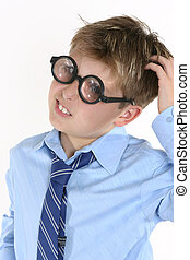 School student in comical spectacles and a confusedl...