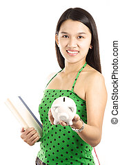 Young woman - A young woman carrying a book and piggy bank
