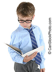 Student reading or studying - Student in uniform reading a...