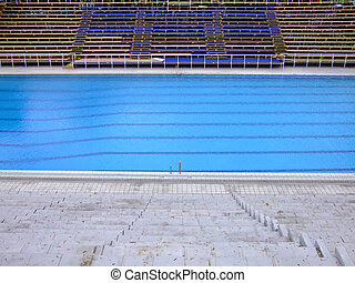 Swimming stadium - Trembling surface of an Olympic size...