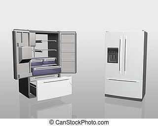 Household appliances, fridge, - 3D illustration, household...