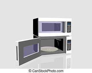 Household appliances, microwave oven. - 3D illustration,...