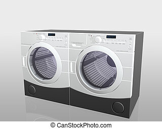 Household appliances, washer and drier - 3D illustration,...