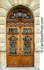 Old Paris Door - Parisian appartment building door with...