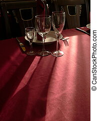 Goblets on table - The goblets on table with crimson...