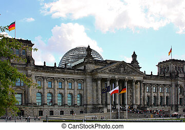 Reichstag , Berlin. tourists in front of the building...