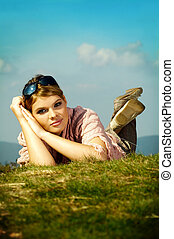Business Woman Relaxing - Young business woman relaxing on...