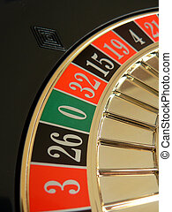 Roulette wheel with focus on zero