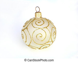 golden christmas bauble - Close-up of Christmas bauble with...