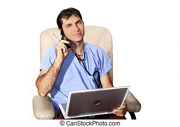 Medical Professional on cell phone with laptop