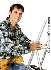 Home Repairs - Young man with tools ready to climb ladder