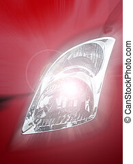 Bright Car Headlight - A bright car headlight showing color...