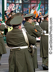 The trumpeter of a wind band - Parade in honour of stPatrick...