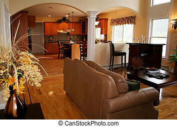 Living Room - Beautiful living room with kitchen in the...