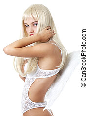 pure and perfect #2 - blond hair girl in white lingerie with...