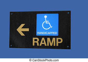 wheelchair ramp direction sign