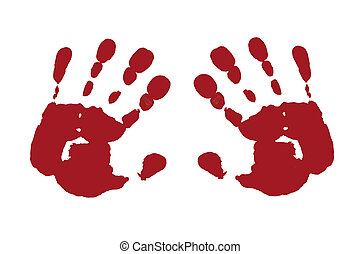 two hands - casting of both hands with red color