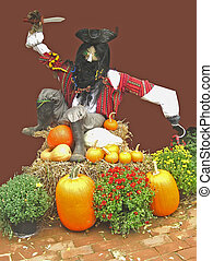 Pirate Scarecrow on Autumn Mound with Pumpkins, Hay, and...