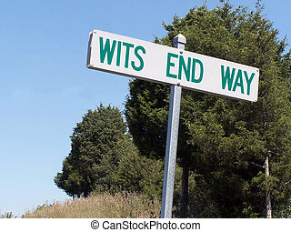 Wits End Way - road sign by lane reading wits end way
