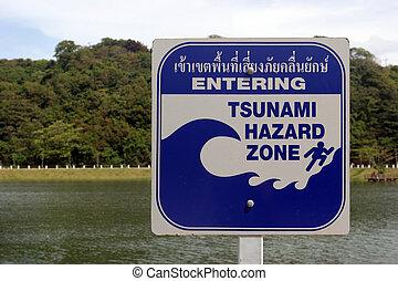 Tsunami warning sign in Phuket, Thailand