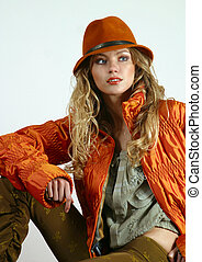 Young blonde - The beautiful young blonde in a red jacket...