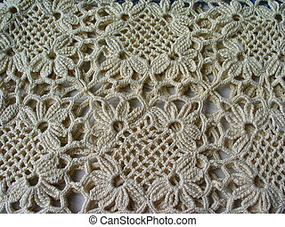 Crochet Lace - pattern of vintage crocheted lace in an ecru...