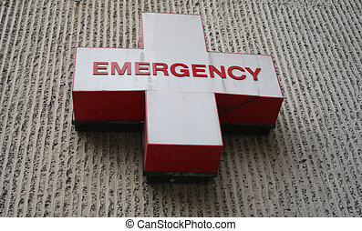 Emergency room symbol red writing on white cross