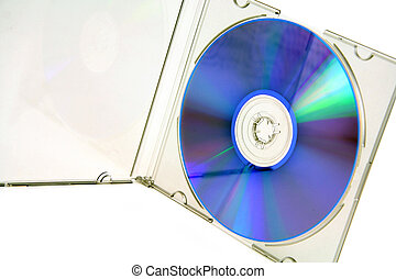 isolated cd - open cd case with blank cd