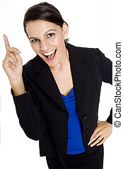 Businesswoman - A young attractive businesswoman with finger...