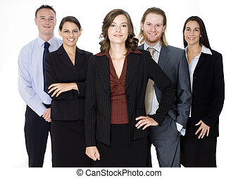 Happy Business Team - Five business professionals standing...