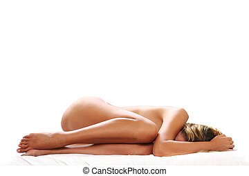 Woman Asleep - Woman asleep in a ball with white background