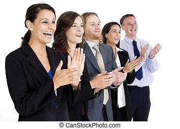 Celebrating Success - A diverse business team celebrate...