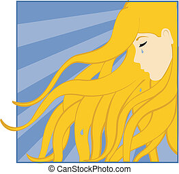 Girl Crying - Crying girl with blond, wavy hair