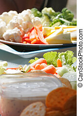vegetable platter - vegateble tray at an outdoor picnic