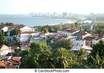 Typical sight of the city of olinda with Recife at...
