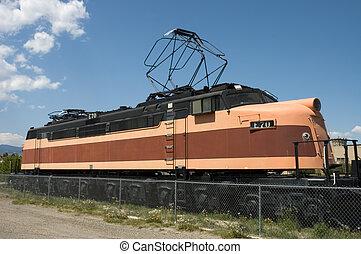 Old Locomotive - Antique orange and black Milwaukee train,...