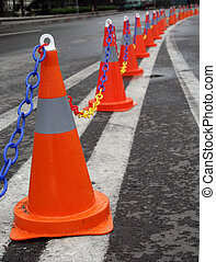 Traffic cones on a dual carriageway in the city