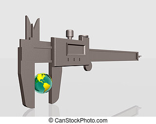 Earth being squeezed with caliper. - 3d illustation of Earth...